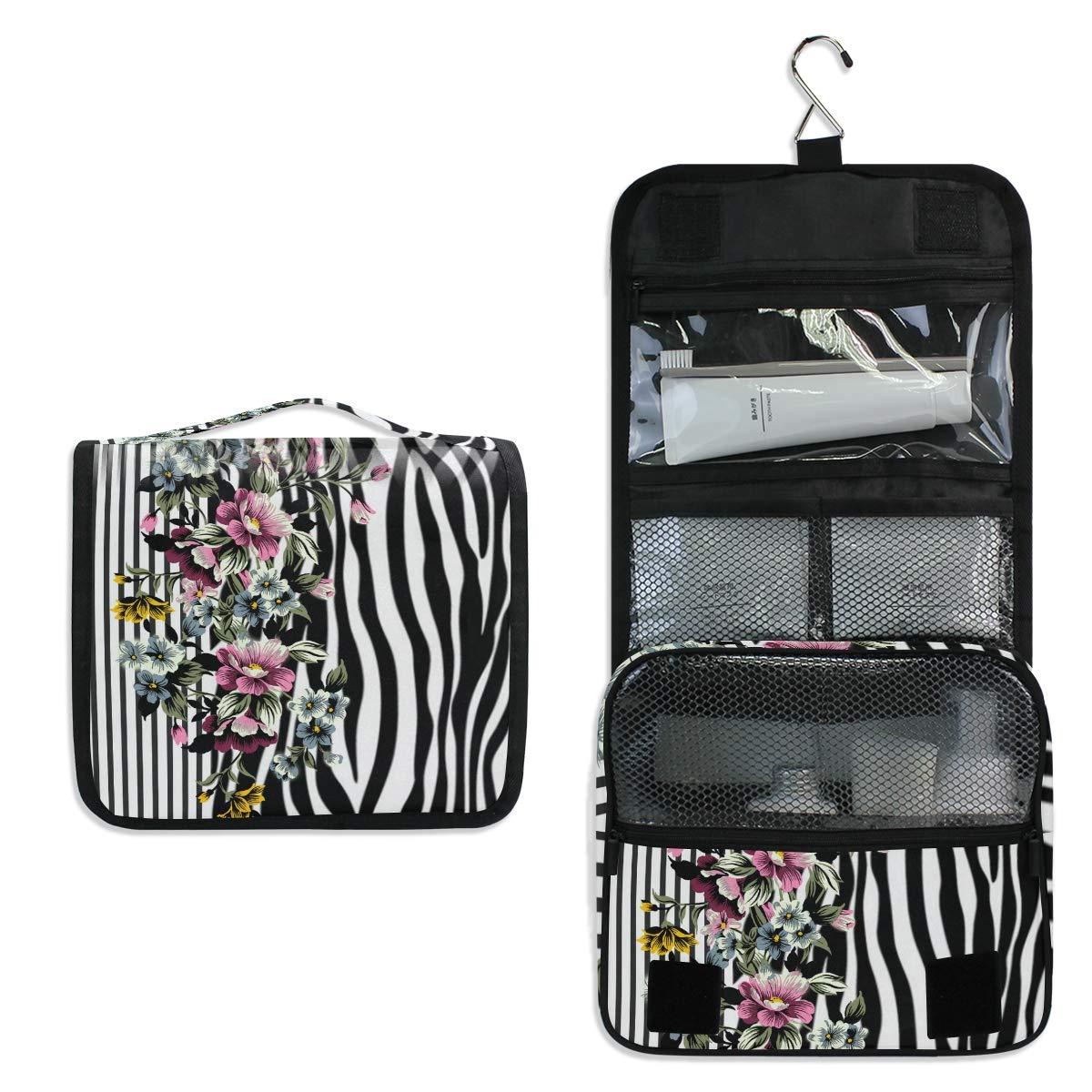Bardic Hanging Travel Toiletry Bag Flower Zebra Print Stripe Large Capacity Makeup Cosmetic Bag Portable Toiletry Kit Organizer