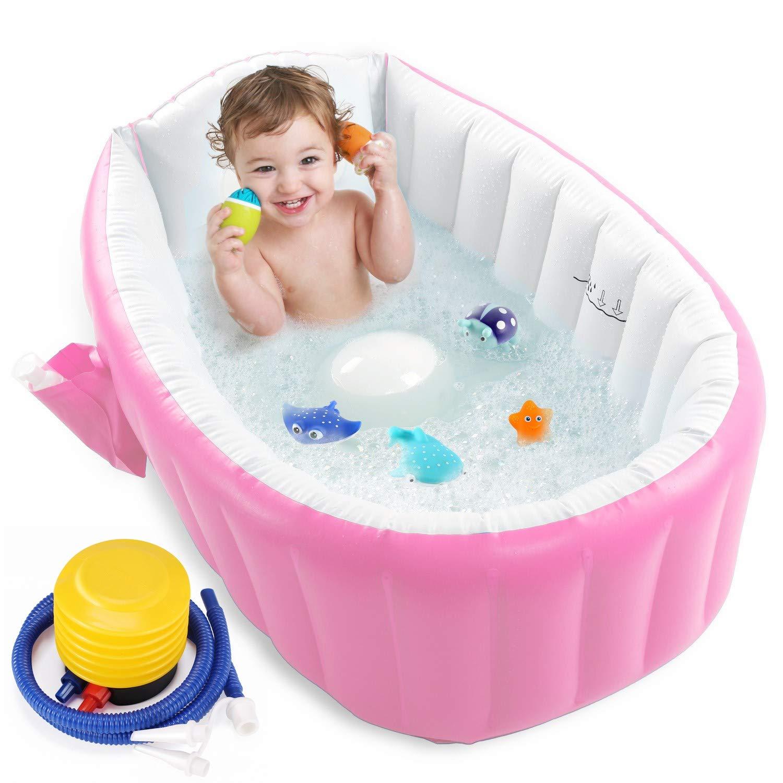 Inflatable Baby Bathtub with Air Pump, Portable Toddler Bathtub Baby Bath Tub Non Slip Travel Bathtub Mini Air Swimming Pool Kids Thick Foldable Shower Basin, Pink