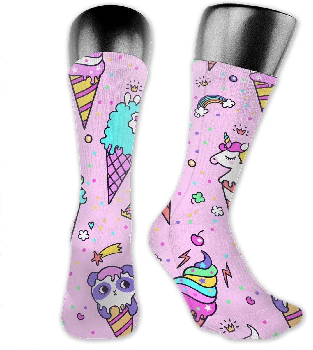 Ice Cream Unicorn Unisex Outdoor Long Socks Sport Athletic Crew Socks Stockings
