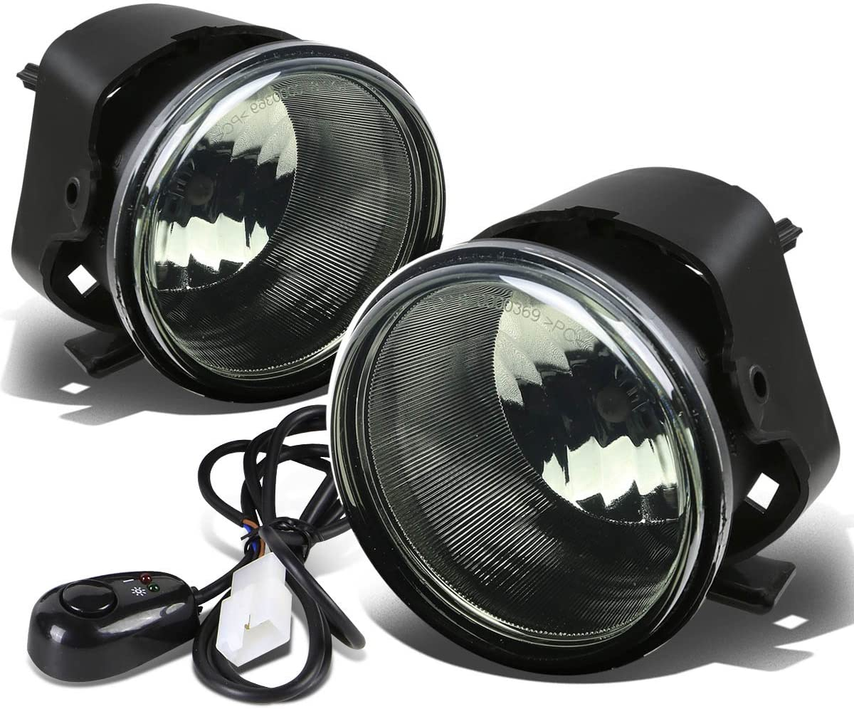 Pair Smoked Lens Front Driving Fog Light Lamp w/Bulbs + Switch Replacement for Chrysler 300 05-10