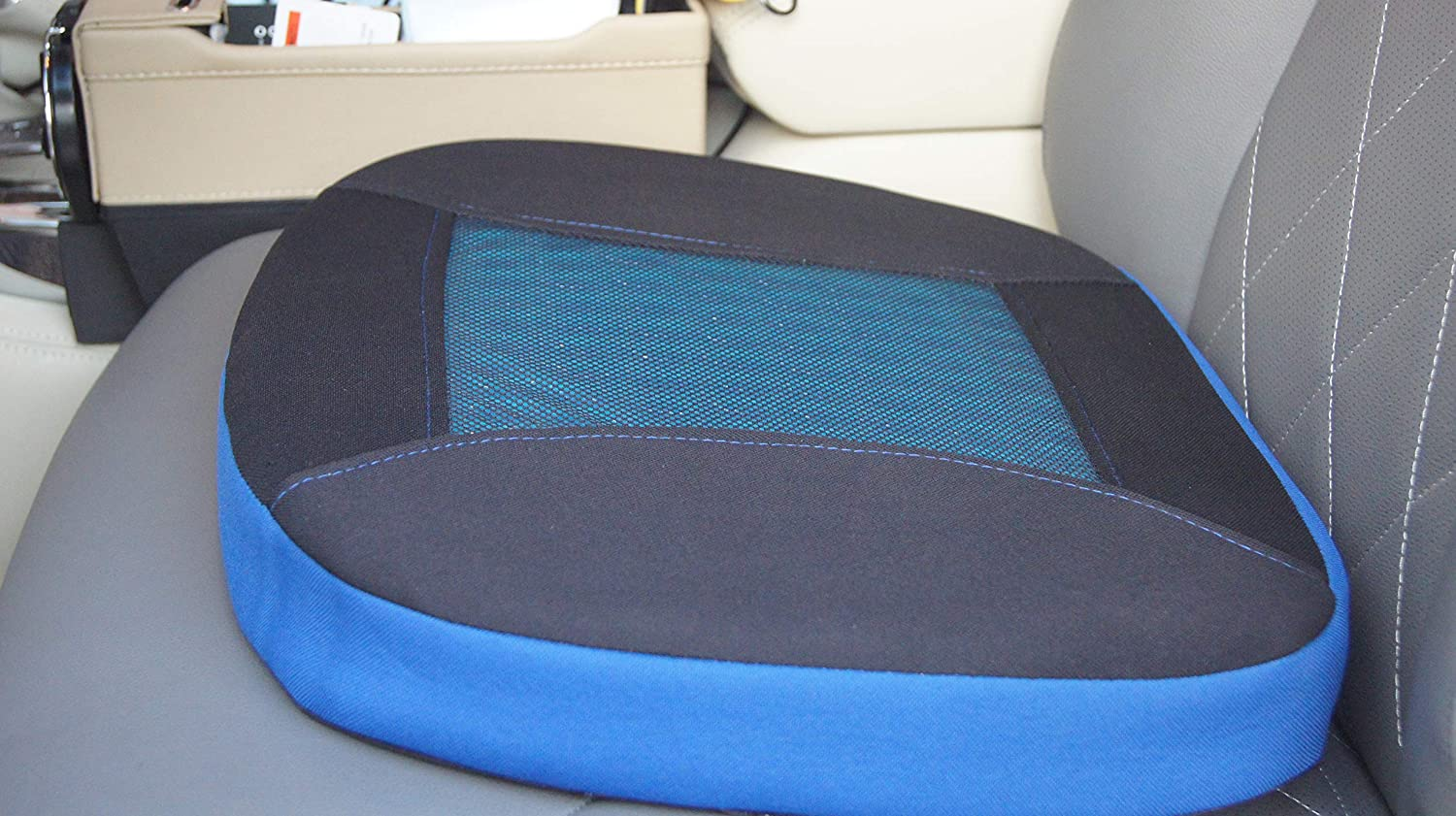 HAPPYCAT Car Seat Cushion Pad with Breathable Gel Memory Foam for Office Chair Car(Blue)