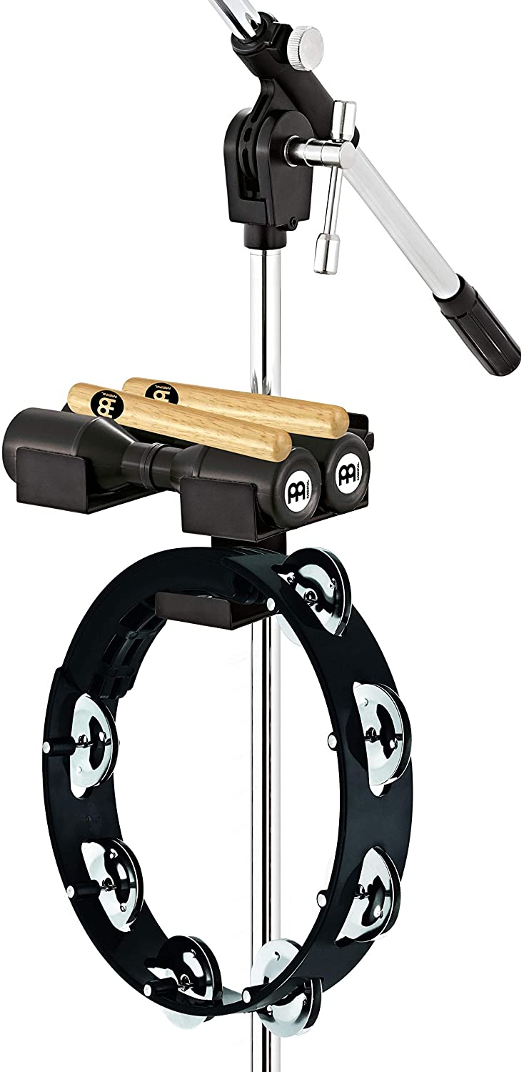 Meinl Percussion Mini Rack for Mic Stands with Tambourine, Shaker and Claves — Not Made in China — Perfect for Singers, Horn Players and Other Musicians, 2-YEAR WARRANTY, PP11