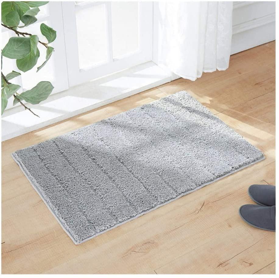 Bath Mat Bathroom Rug, Soft, Comfortable Carpet Mat for Bathroom Kitchen Bath Rugs, Machine Washable Non-Slip Bath Rug (Color : Gray, Specification : 18x26 inch)