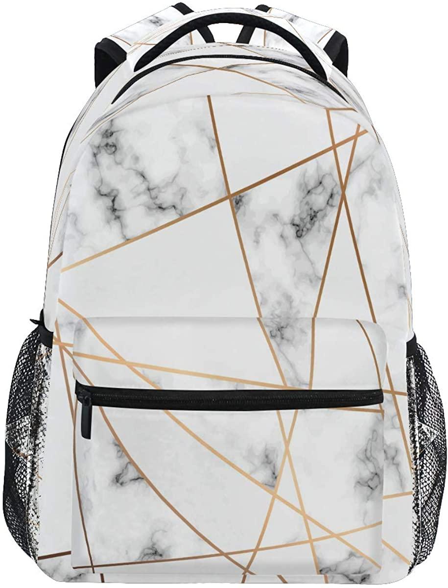 CCDMJ Backpacks Abstract Marble Geometric School Bag Student Bookbag Adjustable Shoulder Bags Laptop Rucksack Travel Hiking Camping Daypack for Teens Girls Boys Women Men