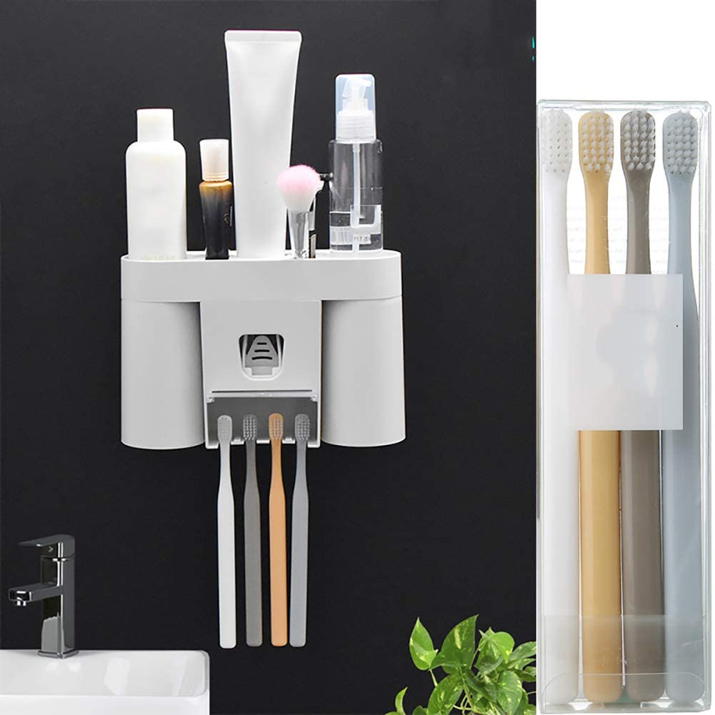 BTASS Multifunctional Toothbrush Holder Wall-Mounted Space-Saving Toothbrush and Toothpaste Squeezer Kit, 4 Toothbrush Slots, 1 Automatic Toothpaste Dispenser and 4 Toothbrushes