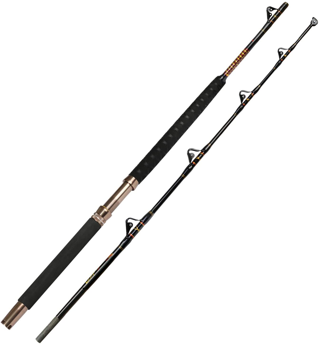 Fiblink 1-Piece/2-Piece Saltwater Offshore Heavy Trolling Rod Big Game Roller Pole Conventional Boat Fishing Rod (50-80lb/80-120lb, 5-Feet 1-Inch)