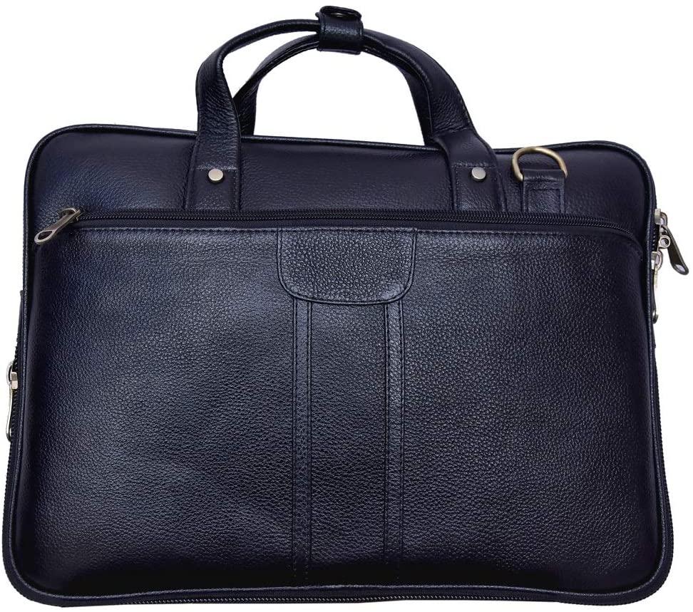 Men's Classic Leather Business Briefcase,Extended 15 inch Laptop Shoulder Bags Casual Travel Handbag for Laptop MacBook (Black)