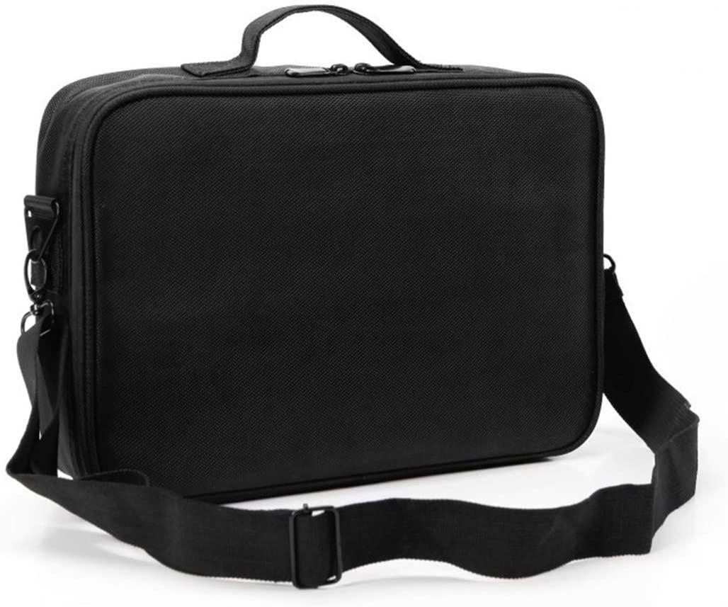 Portable Travel Vanity Case, 2-Layer Vanity Case, Waterproof Cosmetic Storage Bag with Adjustable Partition, Organizing Cosmetics Makeup Brush Digital Accessories (Black)