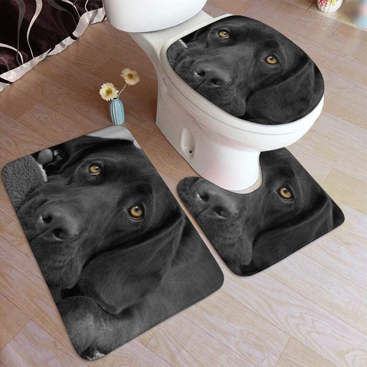 Bath Mat Sets, Black Dog,Contour Rug U-Shaped Toilet Lid Cover,Non Slip,Machine Washable,3-Piece Rug Set Easier to Dry for Bathroom