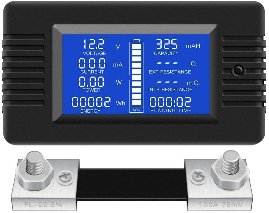 DC Multifunction Battery Monitor Meter 0-200V 0-100A LCD Display Digital Current Voltage Solar Power Meter Multimeter Ammeter Voltmeter