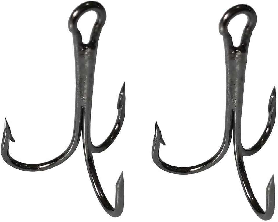 15pcs Fishing Treble Hooks Set High Carbon Steel Sharp Ultra Strength Fishing Hooks for Freshwater Saltwater 8/0 10/0