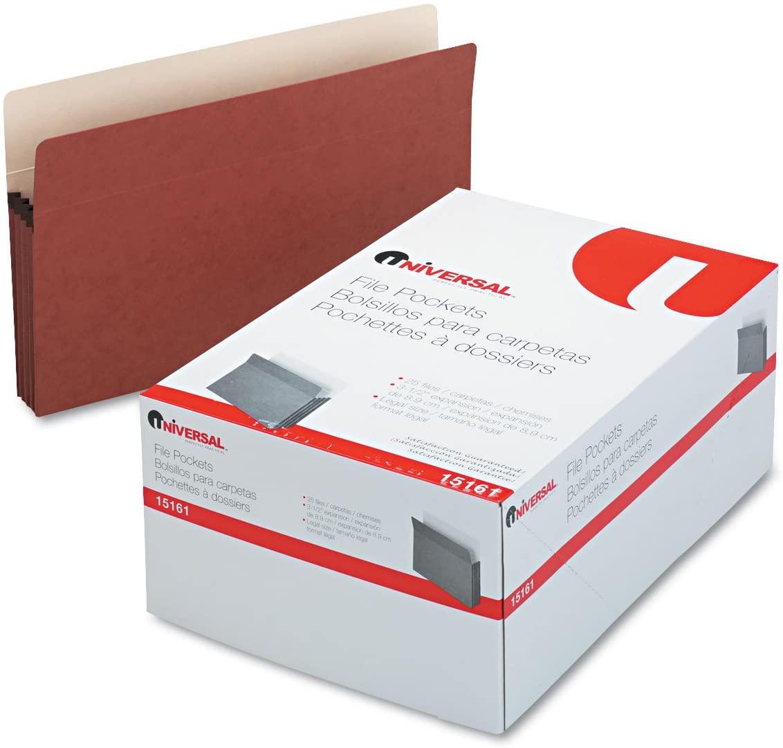 Universal 15161 3 1/2 Inch Expansion File Pockets, Straight Tab, Legal, Redrope/Manila, 25/Box