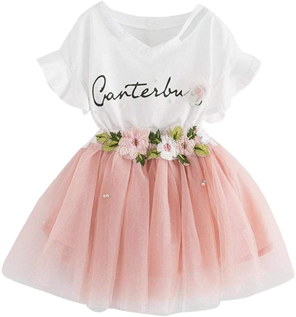terbklf Toddler Kids Baby Girls Outfit Clothes Little Girls Stylish Letters Printing T-Shirt Tops+Floral Skirt 2 Sets