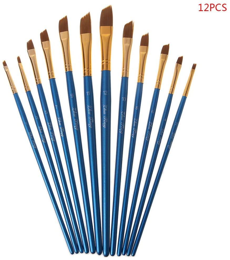 QINYUAN 12Pcs Artist Paint Brush Set Nylon Bristles Watercolor Acrylic Oil Painting Slant Flat Round Pointed Pen Tip Wood Handle Art Accessory