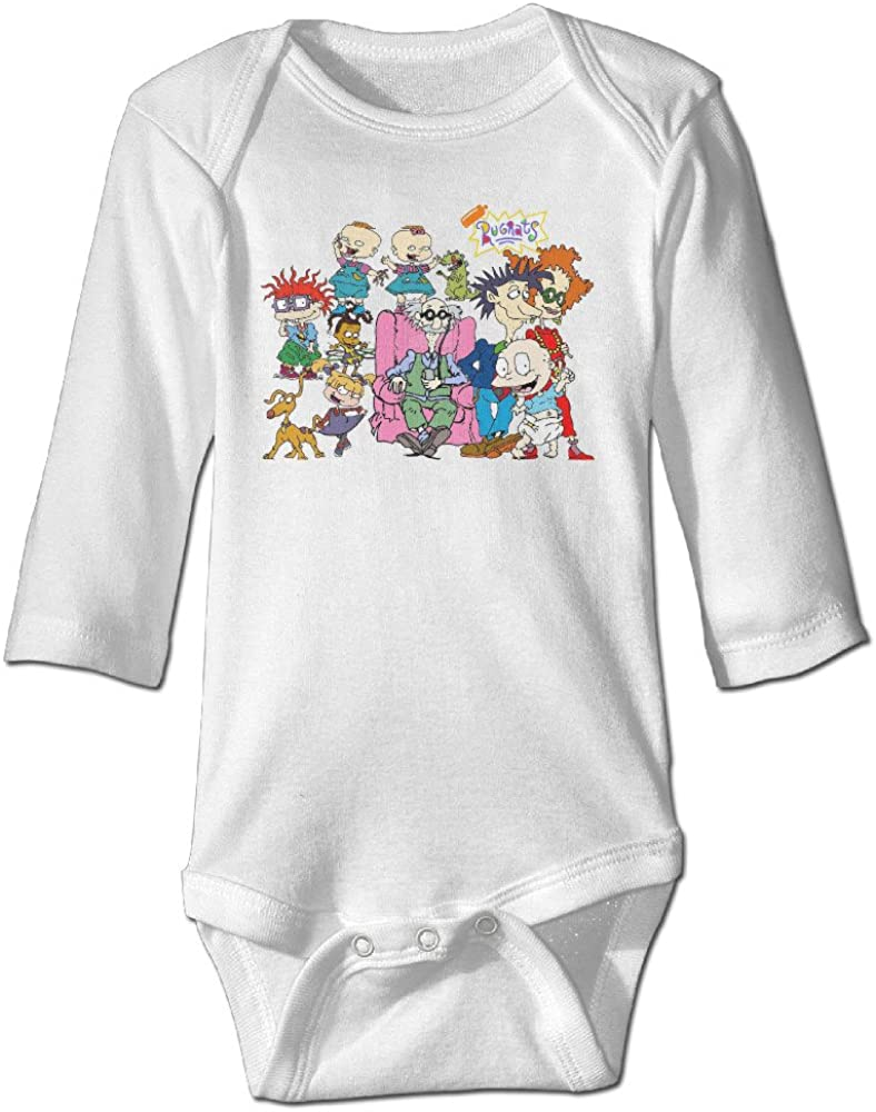 Baby Child 100% Cotton Long Sleeve Onesies Toddler Bodysuit RUGRATS Climbing Clothes White Size 6 M