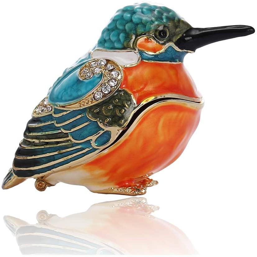 THE THREE FISH Kingfisher Crystal Studded Pewter Jewelry Trinket Box,Diamond Kingfisher Hinged Trinket Box Hand-Painted Animal Figurine Collectible