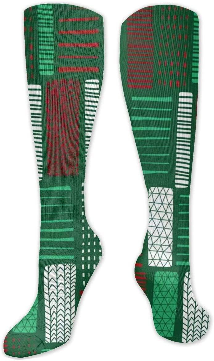 Compression Sock for Women & Men,Green Red White Blocks CasualLongKneeHighTubeSocksforRunnning,SoccerAthleticSports,Travel-50cm