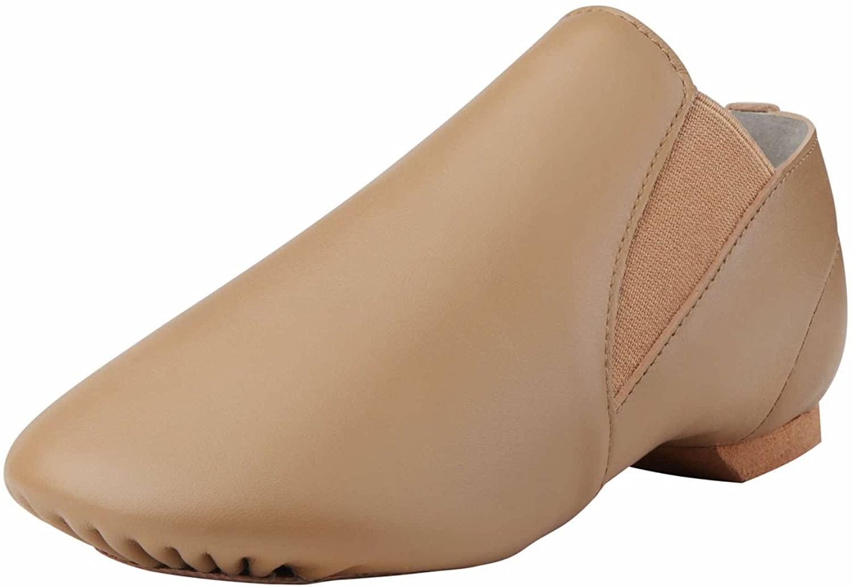 Dynadans Unisex Leather Upper Slip-on Jazz Shoe with Elastics for Women and Men's Dance Shoes