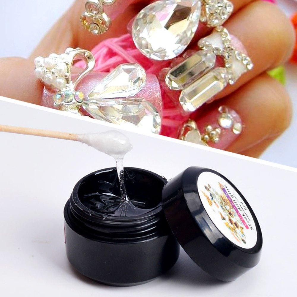 JYS Super Sticky Rhinestone Glue Gel Adhesive Builder Tip Manicure Nail Art Decoration Clear UV Gel Resin Gem Jewelry Diamond Polish Clear Decoration(UV Light Cure Needed)