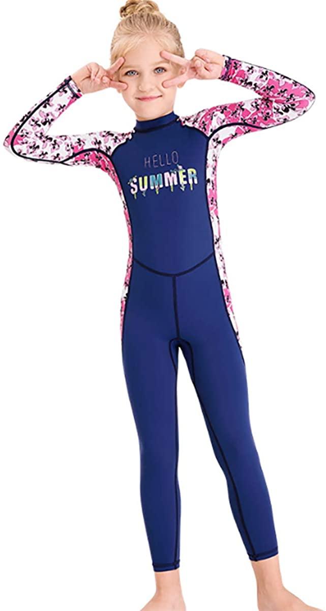 TiaoBug Girls Long Sleeves Wetsuit One Piece Swimsuit Floral Print Zipper Back UPF 50+ UV Sun Protection Rash Guard Set