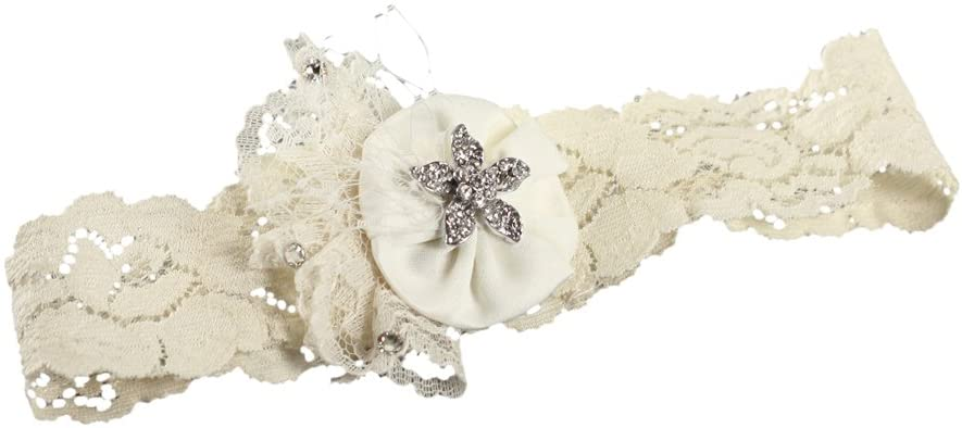 Ivy Lane Design Vintage Scatter Rhinestone Wedding Garter, Small, Ivory