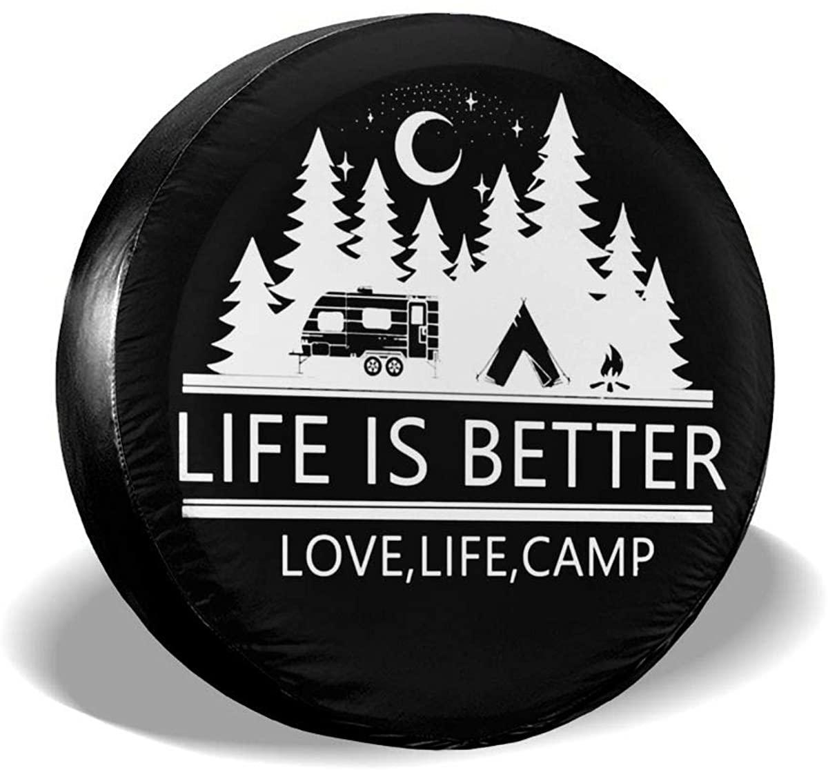 Lumugun Happy Camper Camping Funny Cars Spare Tire Cover Auto SUV, Trailer, Camper, Rv Tire Cover Tyre Size 14