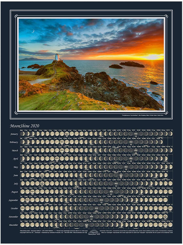 Celestial Products Lunar Calendar 2020, Moonshine, Seascape