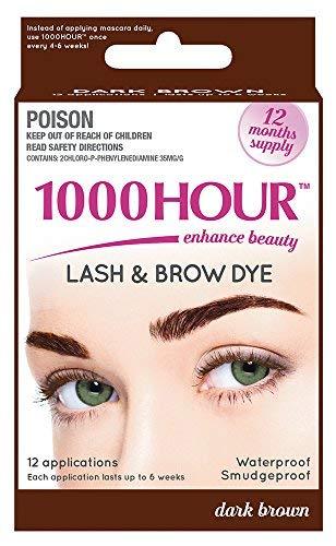 1000 Hour Eyelash & Brow Dye/Tint Kit Permanent Mascara (Dark Brown)
