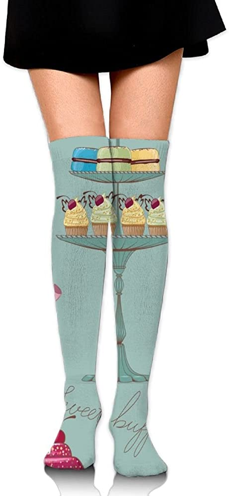 Yongchuang Feng Unisex Tube Stockings Cakes Cookie Over The Knee Unisex Knee High Long Socks Length 65cm