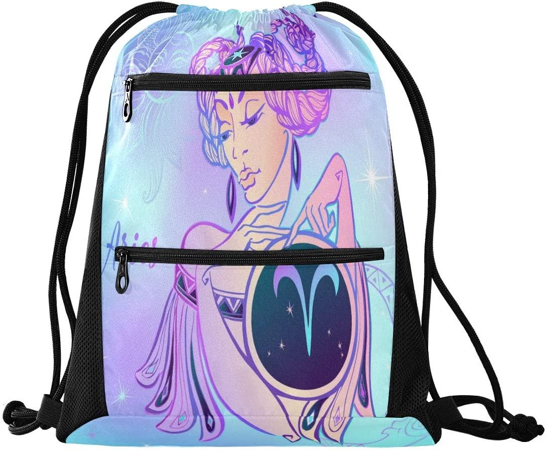 Drawstring Backpack Sport Gym Sackpack - Zodiac Aries Drawstring Bag with Zipper Pocket Drawstring Bag Sport Backpack for Travel Swimming