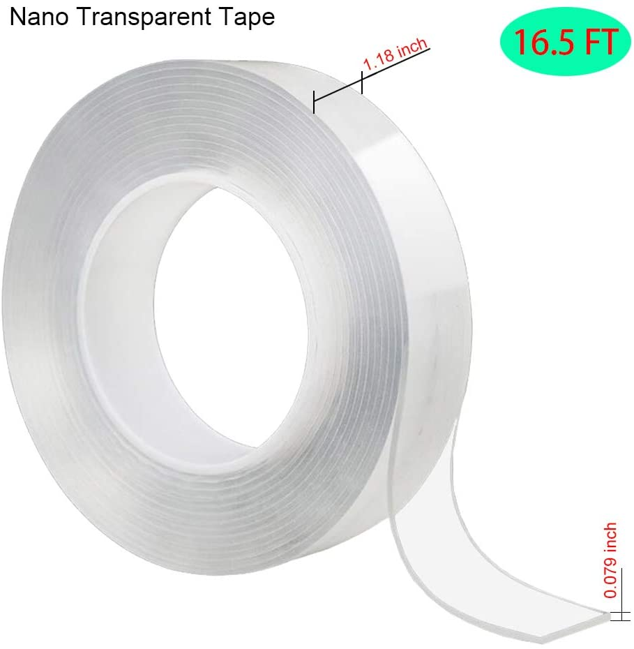 Nano Transparent Tape,Multipurpose Reusable Removable Washable Double Sided Tape for Paste Items Household