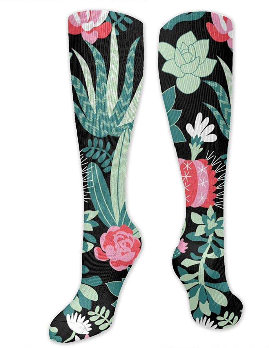 Succulents And Cactuses Athletic Socks Thigh Stockings Over Knee Leg High Socks