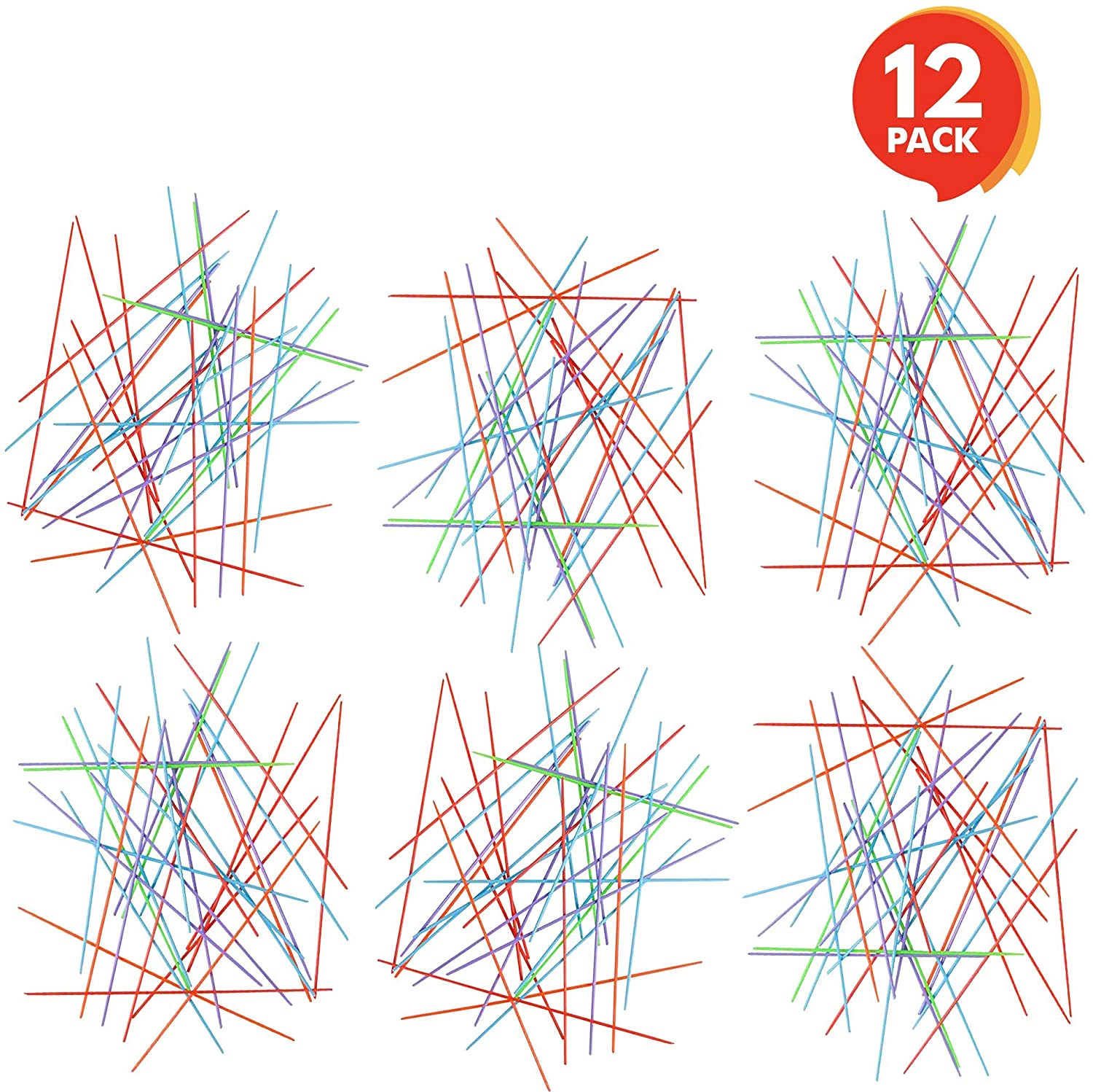 Gamie Plastic Pick-up Stick Sets - Pack of 12 - Each Set Separately Packed with Instructions - Great School Carnival Prize and Party Favors for Boys and Girls