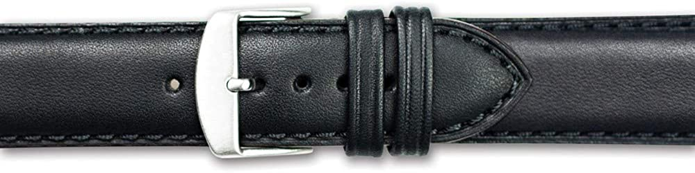20mm Black Full Oil Leather Stainless Steel Watch Band 7.75