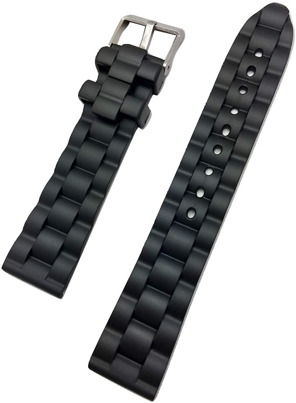 20mm Black Rubber PVC Material Watch Band | Comfortable and Durable, Patterned Design Replacement Wrist Strap That Brings New Life to Any Watch for Women and Men