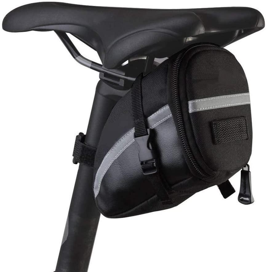 Bike Saddle Bag, MOOZO Waterproof Bike Saddle Seat Wedge Pack Pannier Storage Bag Mountain City Road Bicycle Cycling PU Saddle Bag, Bicycle Repair Tools Pocket Pack Riding Pouch with Reflective Stripe