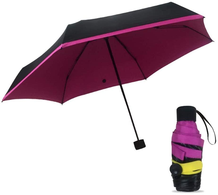 Folding Umbrella,Ultra Light Mini Black Coating Pocket Umbrella,99% UV Protection,for Women Girl Child (Color : Purple, Size : 19cm6K)