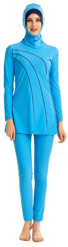 Modest Swimsuit Swimwear for Women Hijab Full Coverage Swimming Beachwear Long-Sleeve Surfing Suit Sun Protection