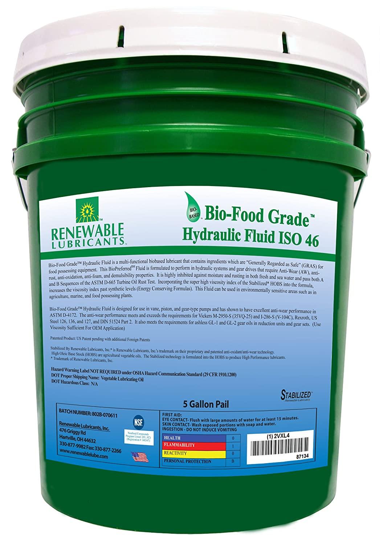 Renewable Lubricants Bio-Food Grade ISO 46 Hydraulic Fluid, 5 Gallon Pail