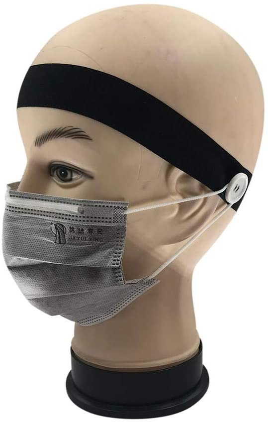 Ros1ock Moisture Button Headband Facemask Holder Wearing a Mask - Protect Your Ears With Headband
