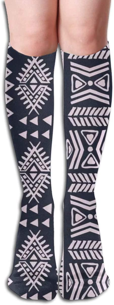 Abstract Tribal Pattern,Design Elastic Blend Long Socks Compression Knee High Socks (50cm) for Sports