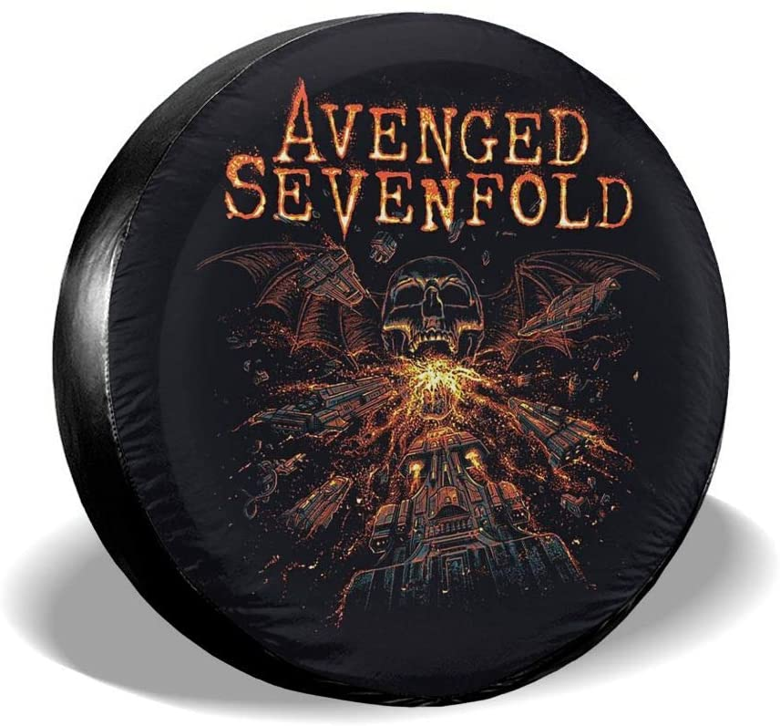 N/C Avenged Sevenfold Tire Cover,Accessories Universal Spare Tire Cover.Foldable Spare Tire Covers Protection Covers.
