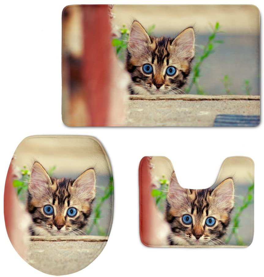 HUGS IDEA Non Skid Washable 3 Piece Bath Rug Set Bathroom Mat Contour Rug and Toilet Cover Pet Cat