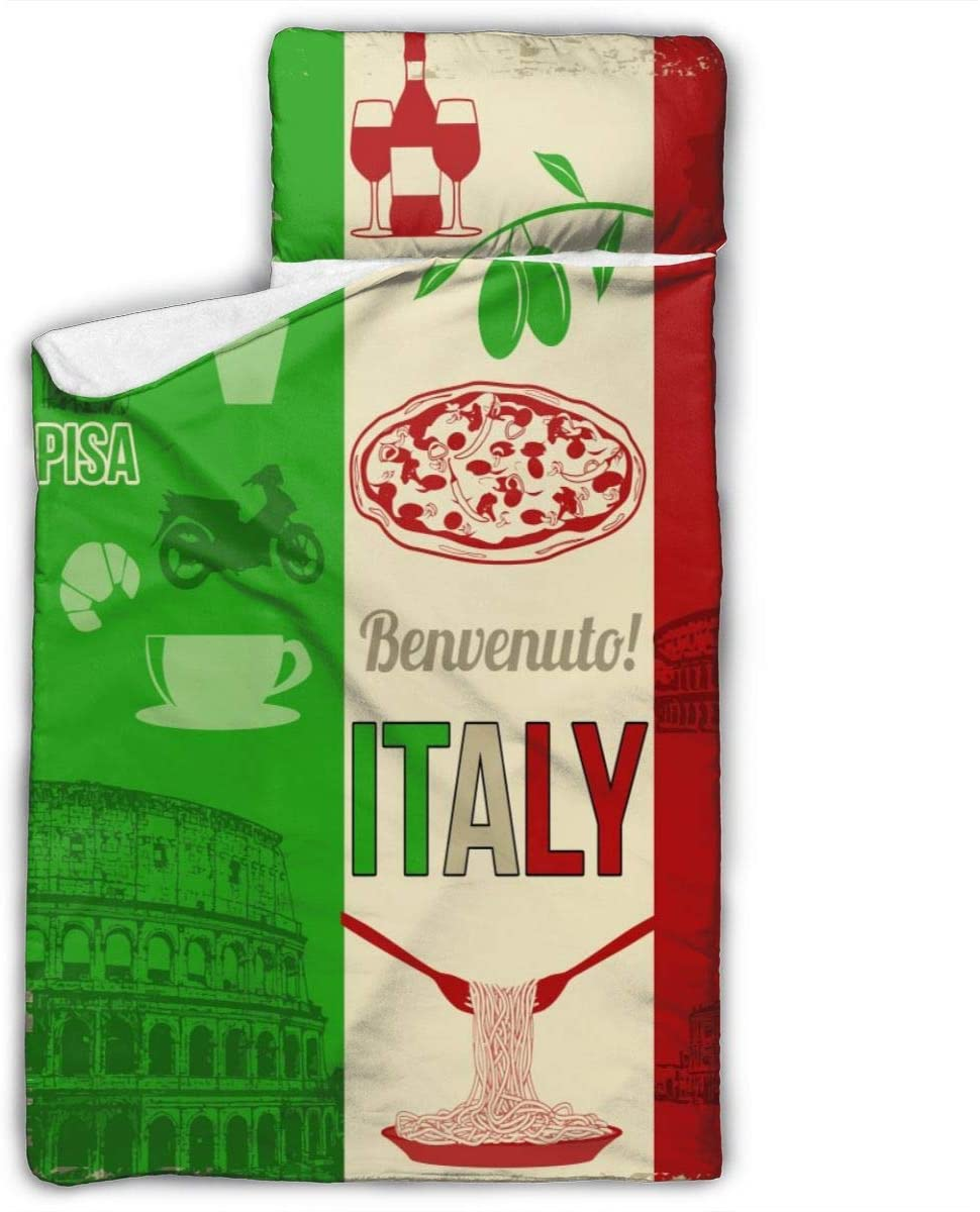 Yuyuy Toddler Nap Mat Italy Pizza Children Sleeping Bag with Pillow for Preschool, Daycare 50 X 20 Inches