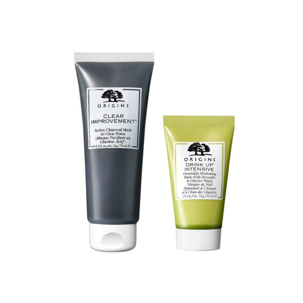 Origins Better Skin Mask Duo Bundle - Clear Improvement Active Charcoal Mask 2.5oz and Drink Up Intensive Mask 1oz (2 Items)