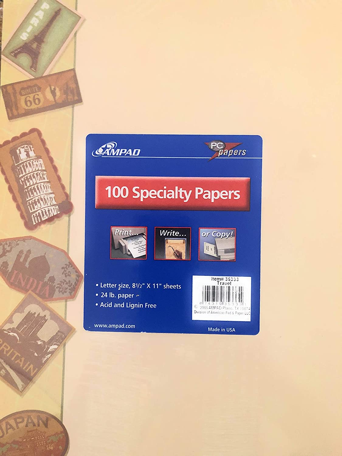 AMPAD SPECIALTY PAPER with TRAVEL BORDER