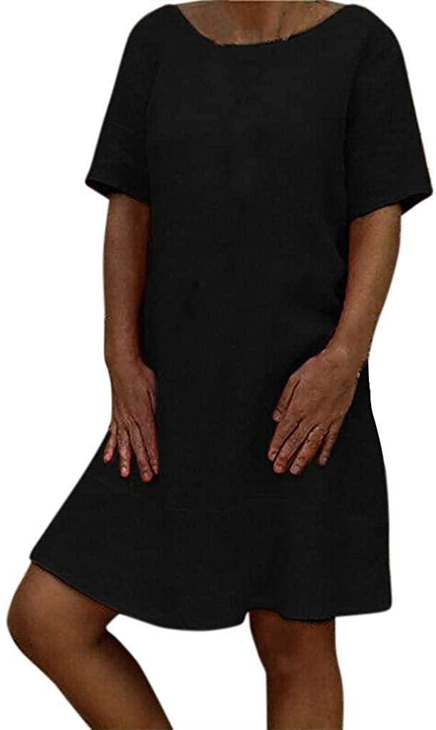 terbklf Mini Dresses for Women Casual Summer Ladies Crewneck Short Sleeve Folk Custom Dress A Line Dresses for Women