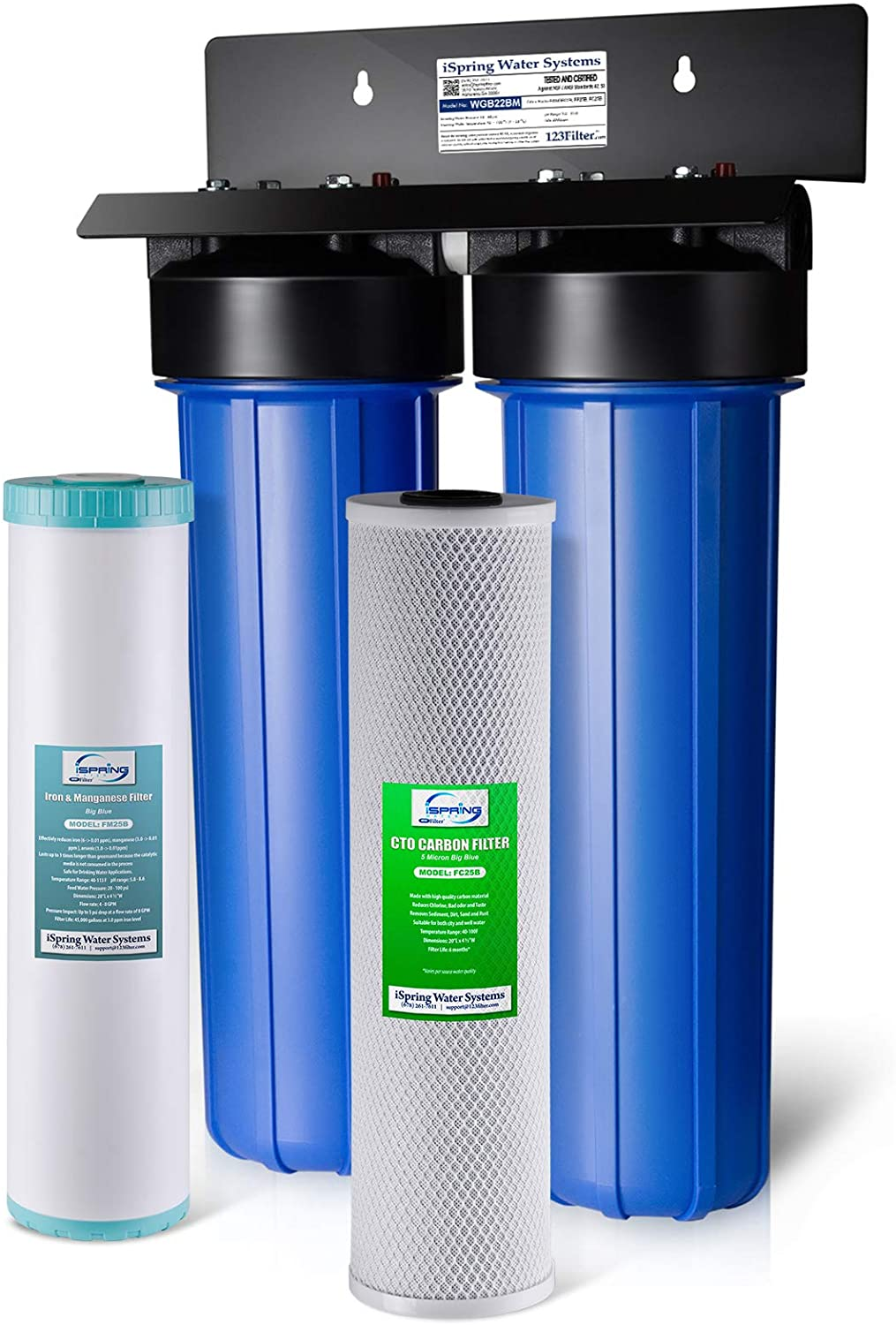 iSpring WGB22BM 2-Stage Whole House Water Filtration System with Big Blue Carbon Block and Iron & Manganese Reducing Filters