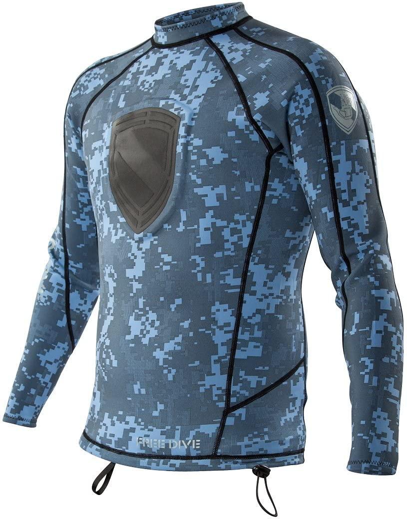 Body Glove Blue Camo Mens Super Rover Free Dive Long Arm Shirt (Medium)