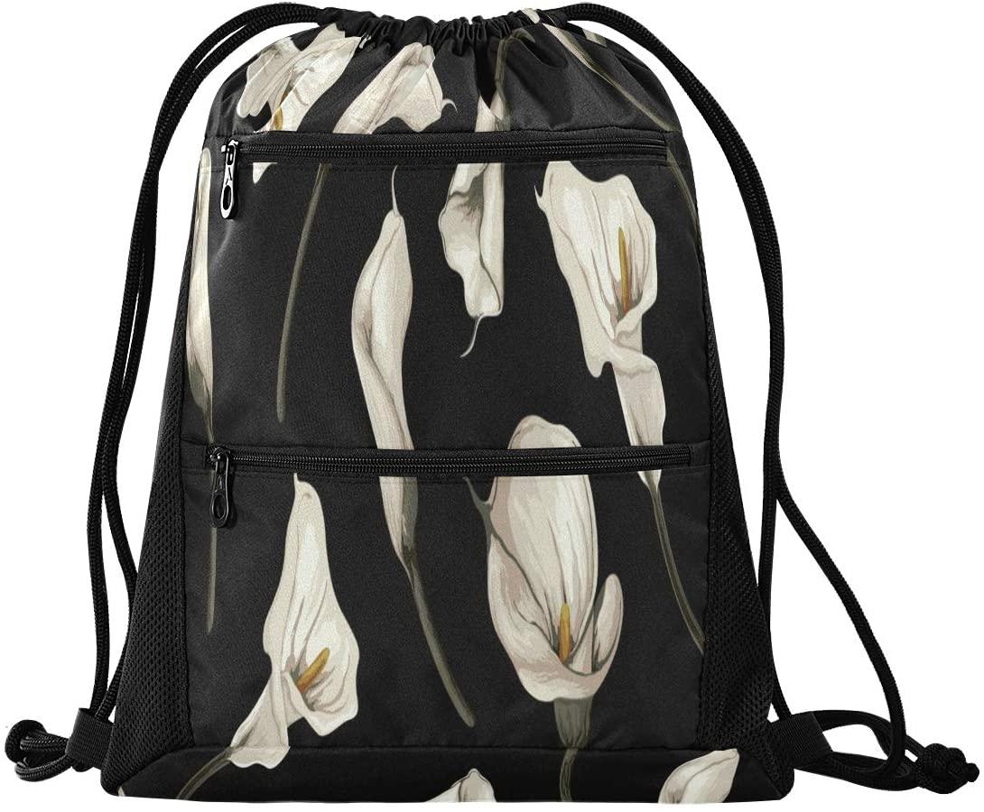 Drawstring Backpack Sport Gym Sackpack - White Daffodil Drawstring Bag with Zipper Pocket Sport Cinch Pack Sport Backpack for Hiking Music Festiva